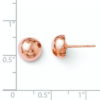 Leslie's Sterling Silver Rose Gold-plated Polished 8-9mm Button Earrings