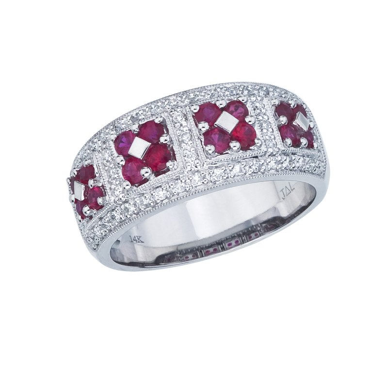 Color Merchants 14k White Gold Ruby and  Diamond Wide Fashion Band
