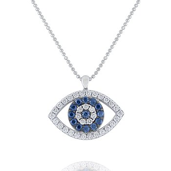 Blue Sapphire & Diamond Evil Eye Pendant Set in 14 Kt. Gold