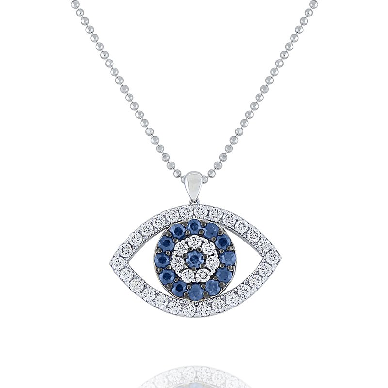 KC Designs Blue Sapphire & Diamond Evil Eye Pendant Set in 14 Kt. Gold