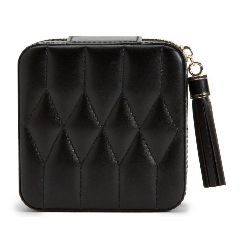 WOLF Caroline Zip Travel Case, black leather