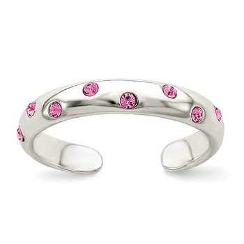 Sterling Silver Pink CZ Toe Ring