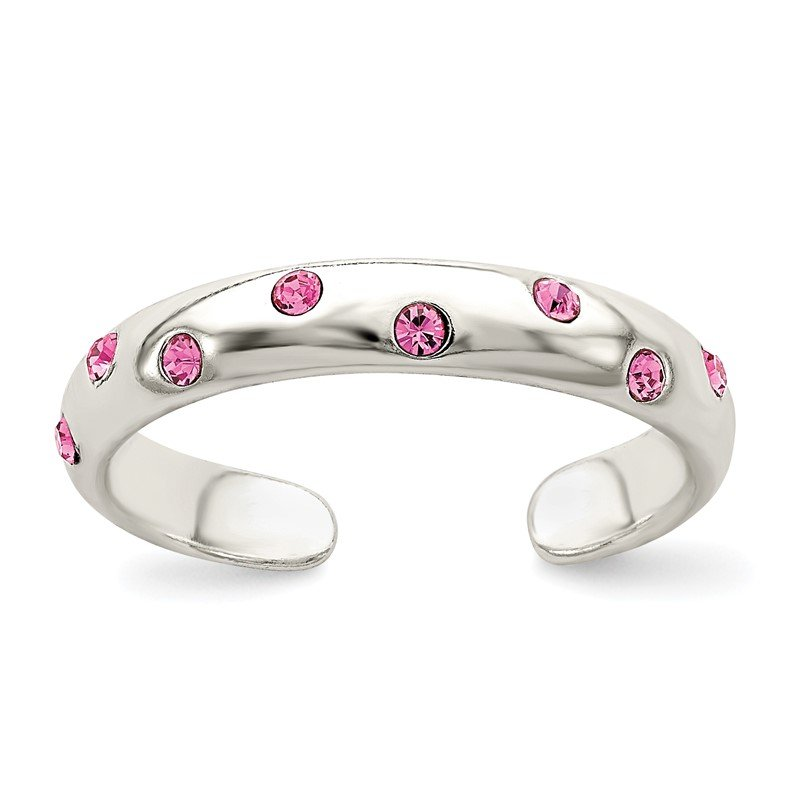 Quality Gold Sterling Silver Pink CZ Toe Ring