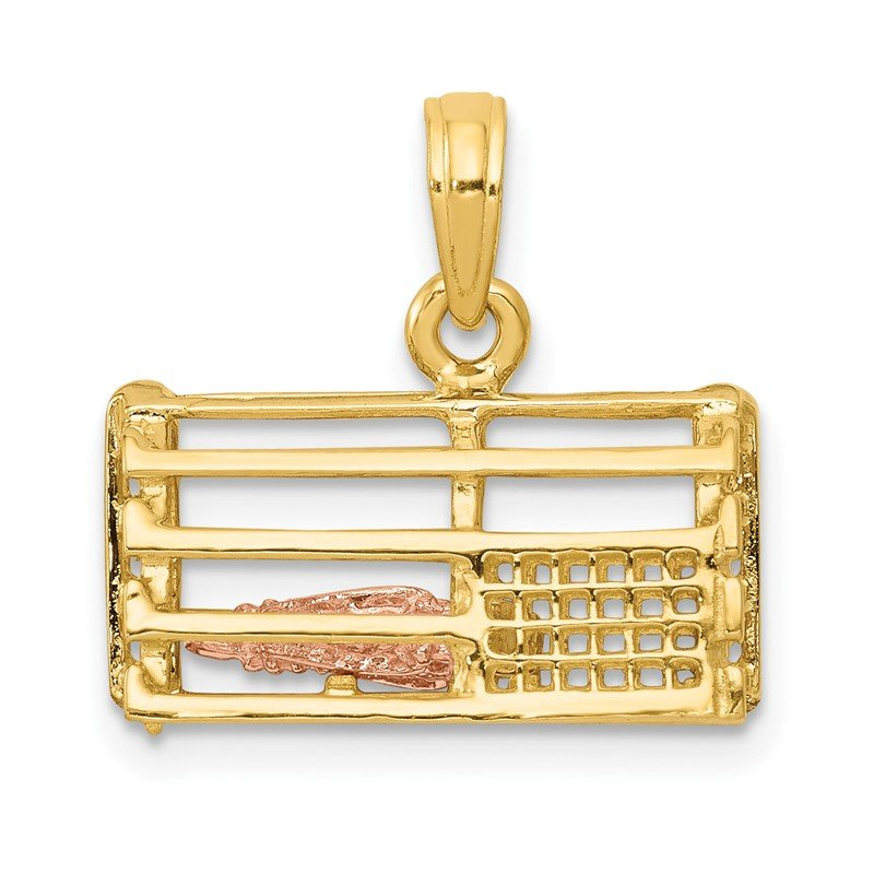 14K Two-Tone Polished 3-D Lobster Trap Pendant