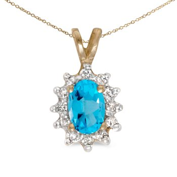 10k Yellow Gold Oval Blue Topaz And Diamond Pendant