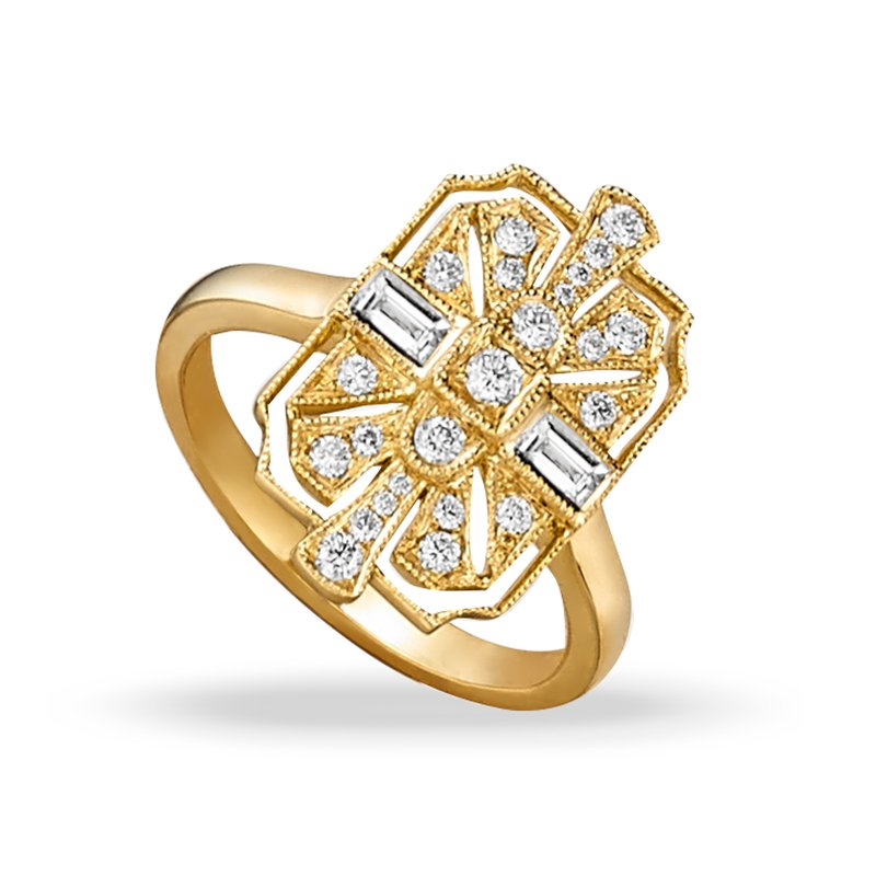 Doves Art Deco Style Diamond Ring 18KY