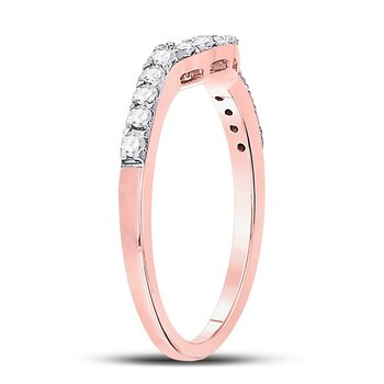 14kt Rose Gold Womens Round Diamond Contoured Wedding Enhancer Band  Ring 1/4 Cttw