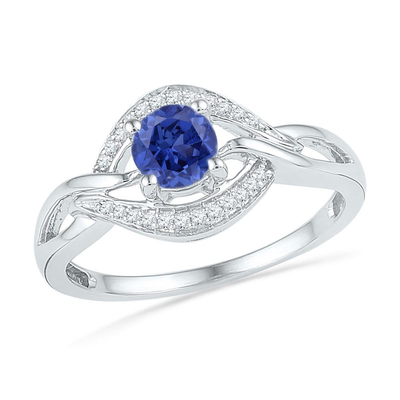 Gold-N-Diamonds, Inc. (Atlanta) Sterling Silver Womens Round Lab-Created Blue Sapphire Solitaire Diamond Ring 5/8 Cttw
