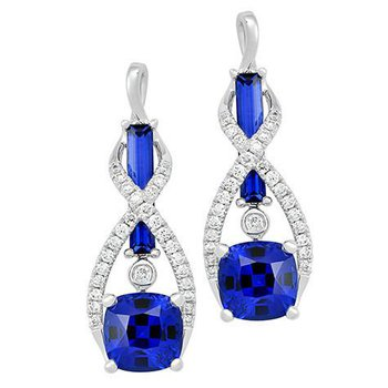 Blue Sapphire Earrings-CE4153WBS