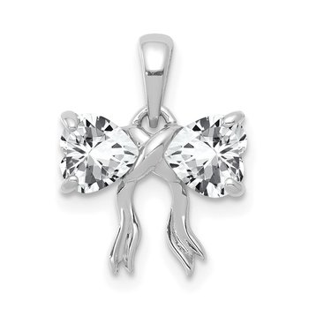 14k White Gold Polished White Topaz Bow Pendant