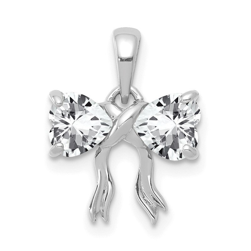 Quality Gold 14k White Gold Polished White Topaz Bow Pendant