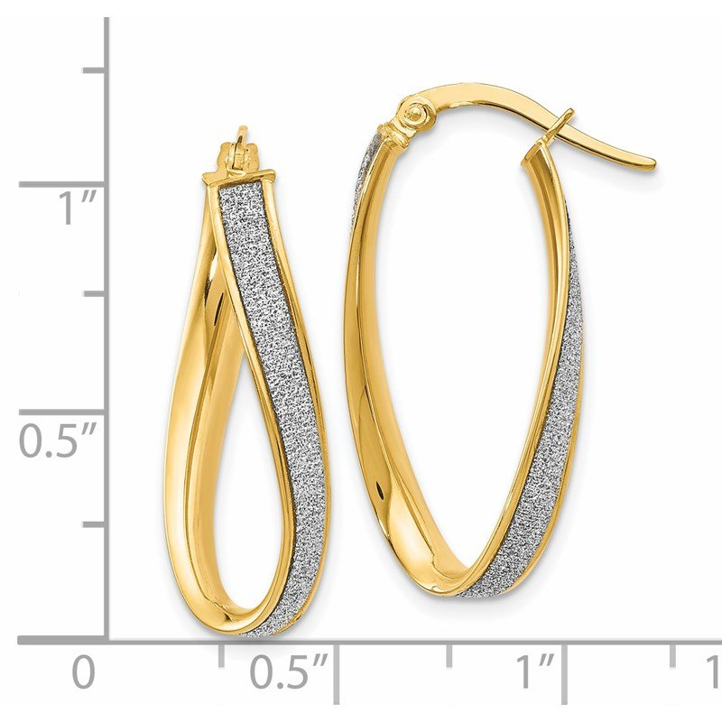 Leslie's Leslie's 14K Polished Glimmer Infused Oval Twist Hoop Earrings