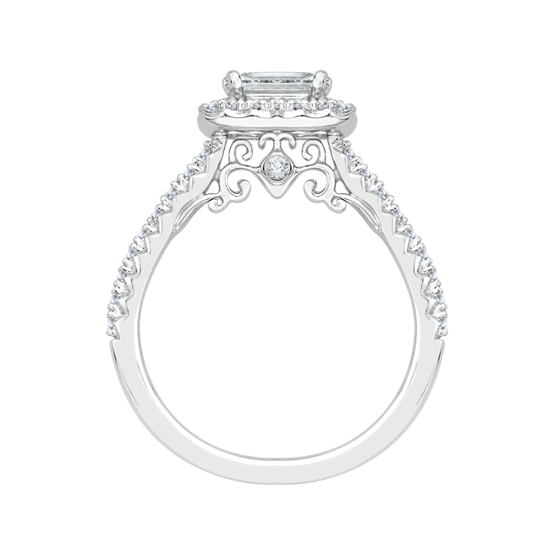 Promezza 14K White Gold Emerald Cut Diamond Halo Engagement Ring