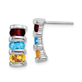Sterling Silver Rhodium-plated w/Garnet, Blue Topaz & Citrine Post Earrin