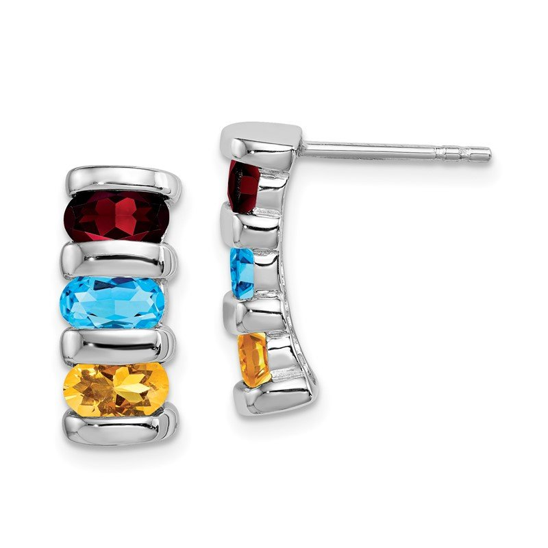 Quality Gold Sterling Silver Rhodium-plated w/Garnet, Blue Topaz & Citrine Post Earrin