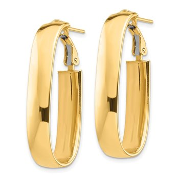 14k High Polished 7mm Oval Omega Back Hoop Earrings