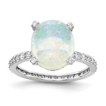 Cheryl M Sterling Silver Rhodium Plated CZ & Created White Opal Ring