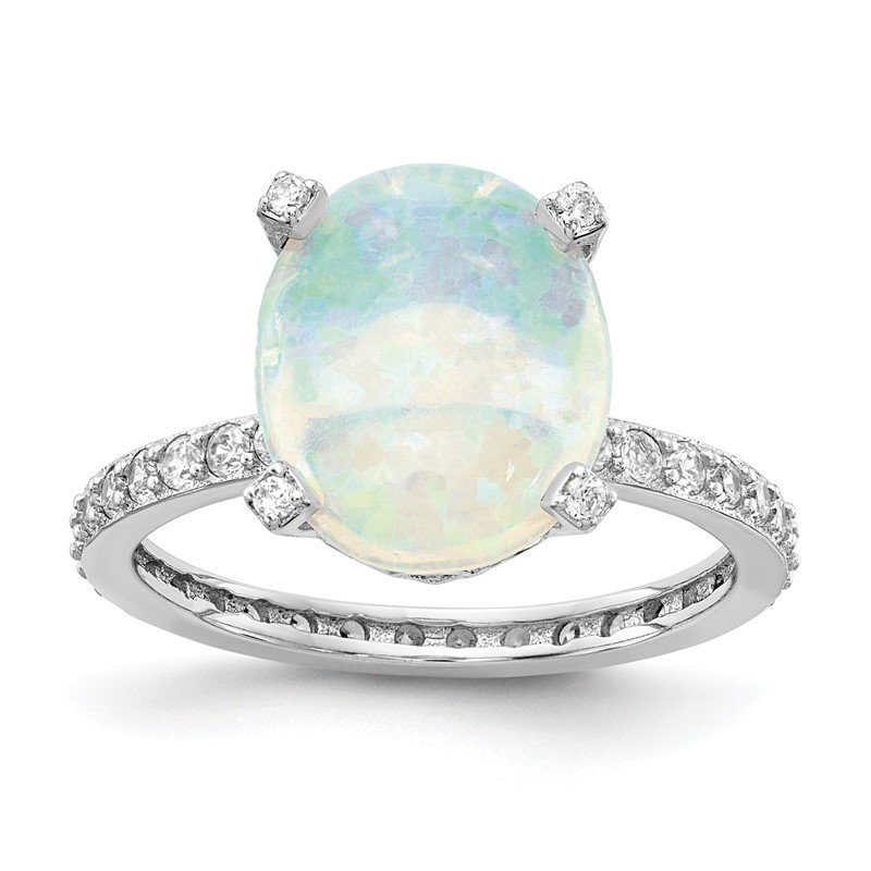 Cheryl M Cheryl M Sterling Silver Rhodium Plated CZ & Created White Opal Ring