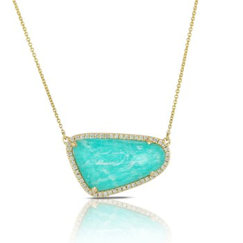 Amazon Breeze Halo Diamond Necklace 18KY