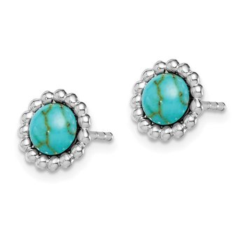 Sterling Silver Rhodium-plated Created Turquoise Cluster Post Earrings