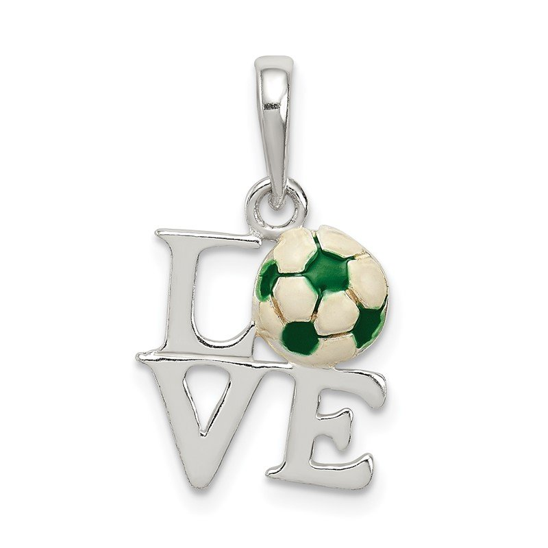 Quality Gold Sterling Silver Enameled & Polished Love Soccer Pendant