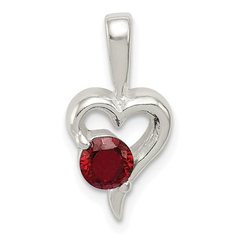 Sterling Silver with Red CZ Heart Pendant