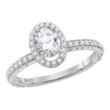 14kt White Gold Womens Oval Diamond Solitaire Bridal Wedding Engagement Ring 1-3/4 Cttw