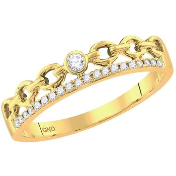 14kt Yellow Gold Womens Round Diamond Rolo Link Stackable Band Ring 1/12 Cttw