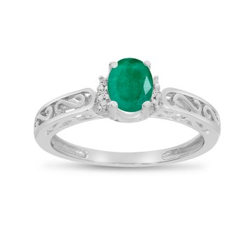 14k White Gold Oval Emerald And Diamond Ring
