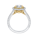 Carizza 14K Two-Tone Gold Oval Diamond Double Halo Vintage Engagement Ring (Semi-Mount)