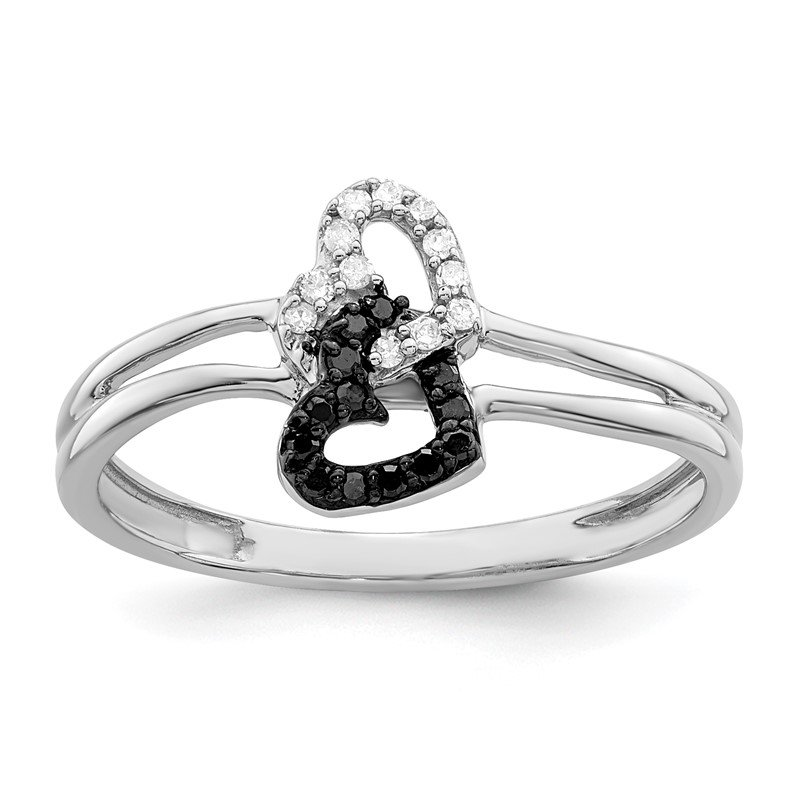 Quality Gold Sterling Silver Rhod Plated Black & White Diamond Heart Ring