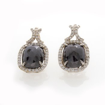 CUSHION BLACK DIAMOND EARRINGS