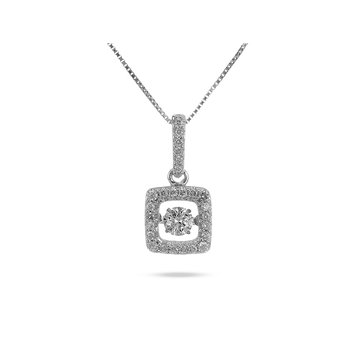 14K WG Square Dancing Diamond Pendant With Square Halo in Prong Setting and Diamond on the Bale