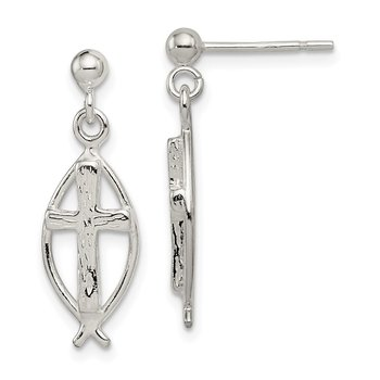 Sterling Silver Ichthus (fish) Cross Earrings
