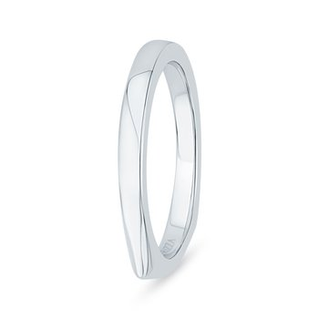 14K White Gold Euro Shank Plain Wedding Band