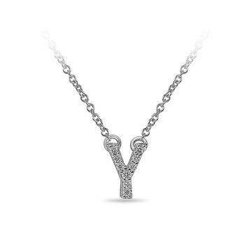 "10K WG and diamond block letters alphabet Y ""chain-attached"" pendant in prong setting"