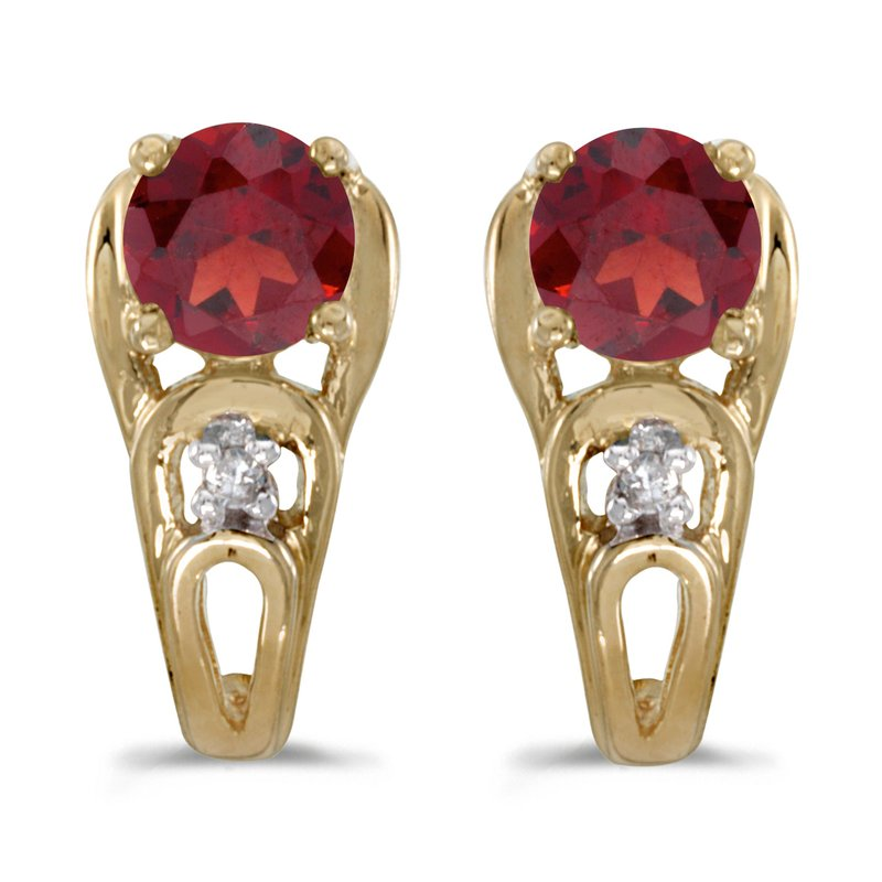 Color Merchants 14k Yellow Gold Round Garnet And Diamond Earrings