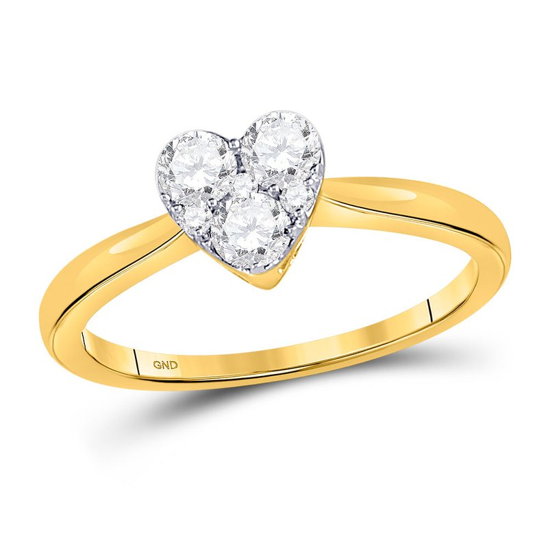 Gold-N-Diamonds, Inc. (Atlanta) 10kt Yellow Gold Womens Round Diamond Heart Cluster Ring 1/2 Cttw