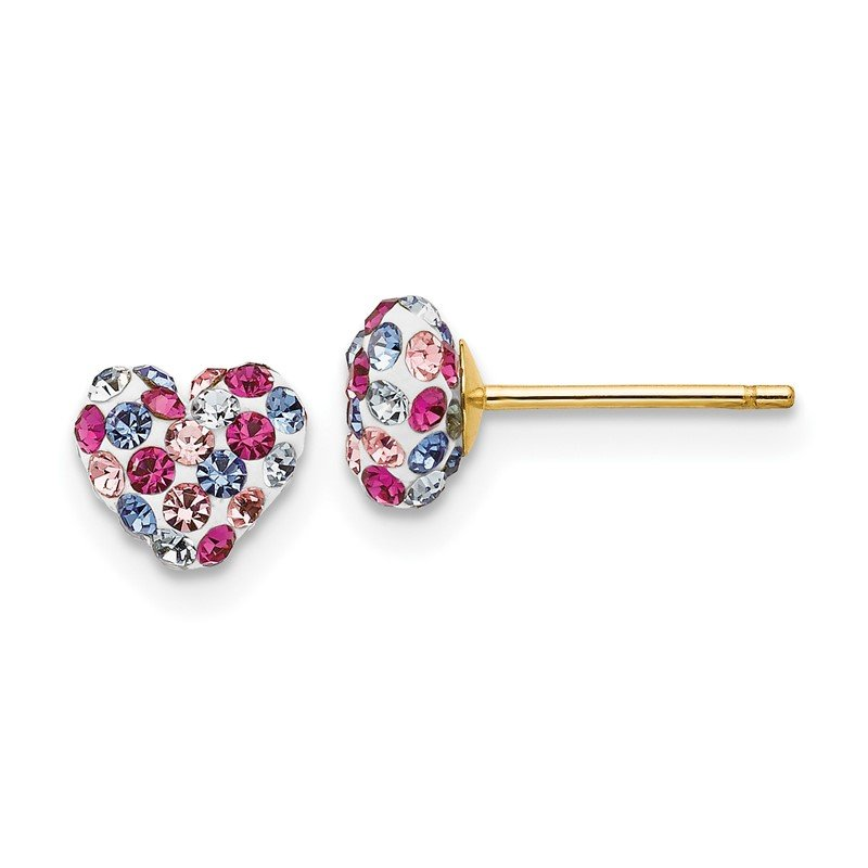 Quality Gold 14k Multi-colored Crystal 6mm Heart Post Earrings