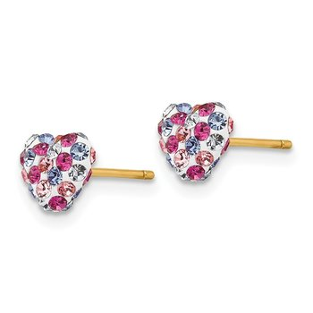 14k Multi-colored Crystal 6mm Heart Post Earrings