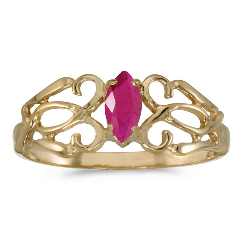 Color Merchants 14k Yellow Gold Marquise Ruby Filagree Ring