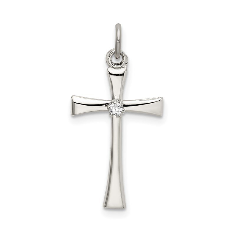 Quality Gold Sterling Silver Polished CZ Cross Pendant