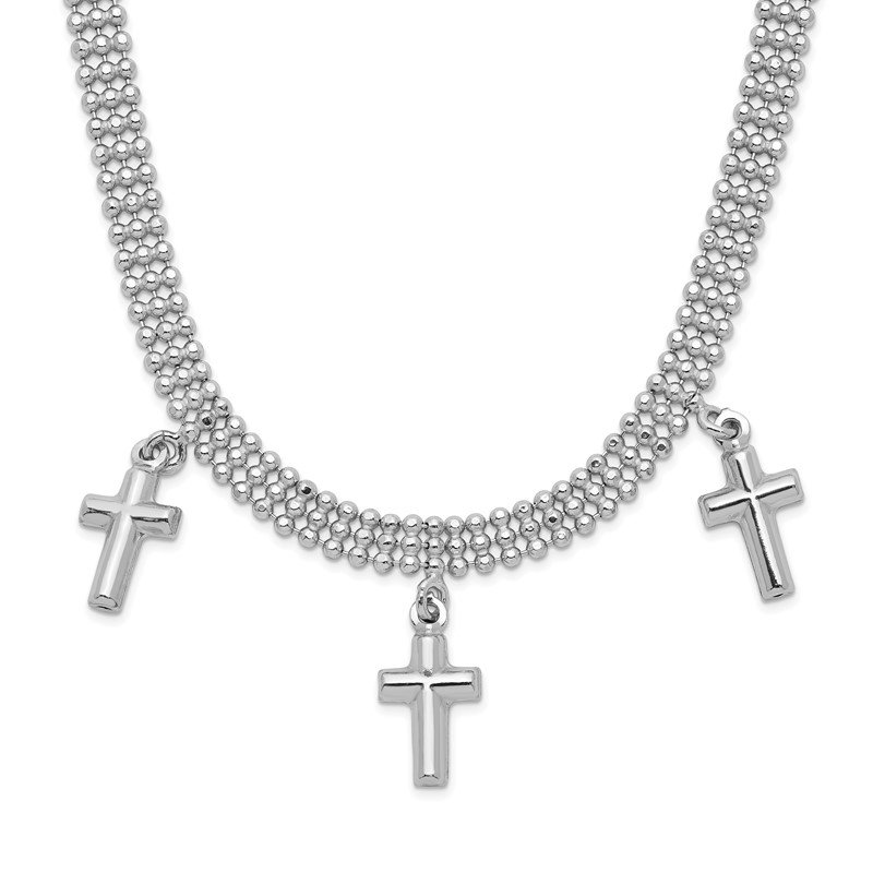 Quality Gold Sterling Silver Rhodium-plated 3-Cross w/4in. Ext. Choker Necklace