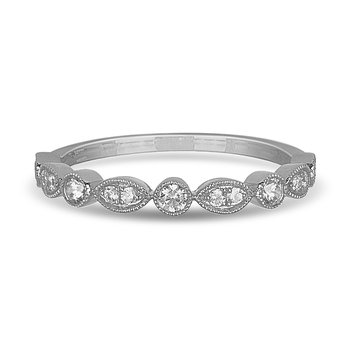 14K WG and diamond alternating round and marquise shape Stackable band in prong and pave setting