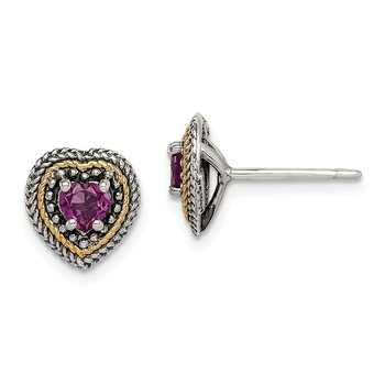 Sterling Silver w/ 14K Accent Rhodolite Garnet Heart Post Earrings