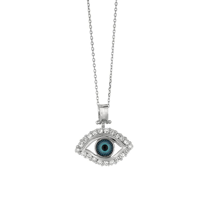 Royal Chain Silver Evil Eye CZ Necklace