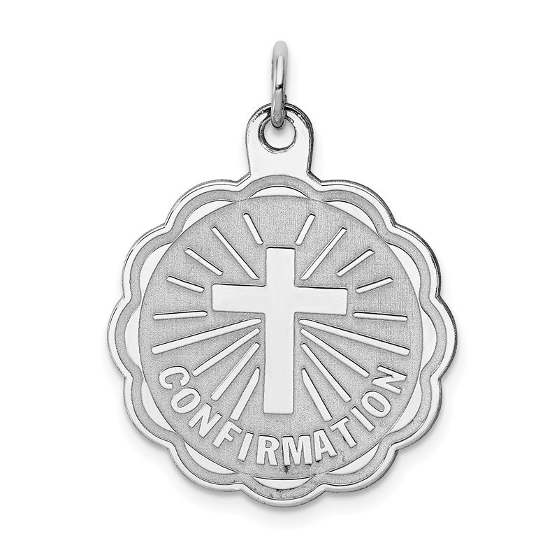 Quality Gold Sterling Silver Rhodium-plated Confirmation Disc Charm