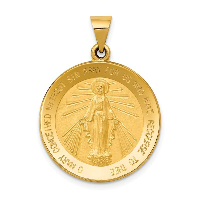 Quality Gold 14k Miraculous Medal Hollow Pendant