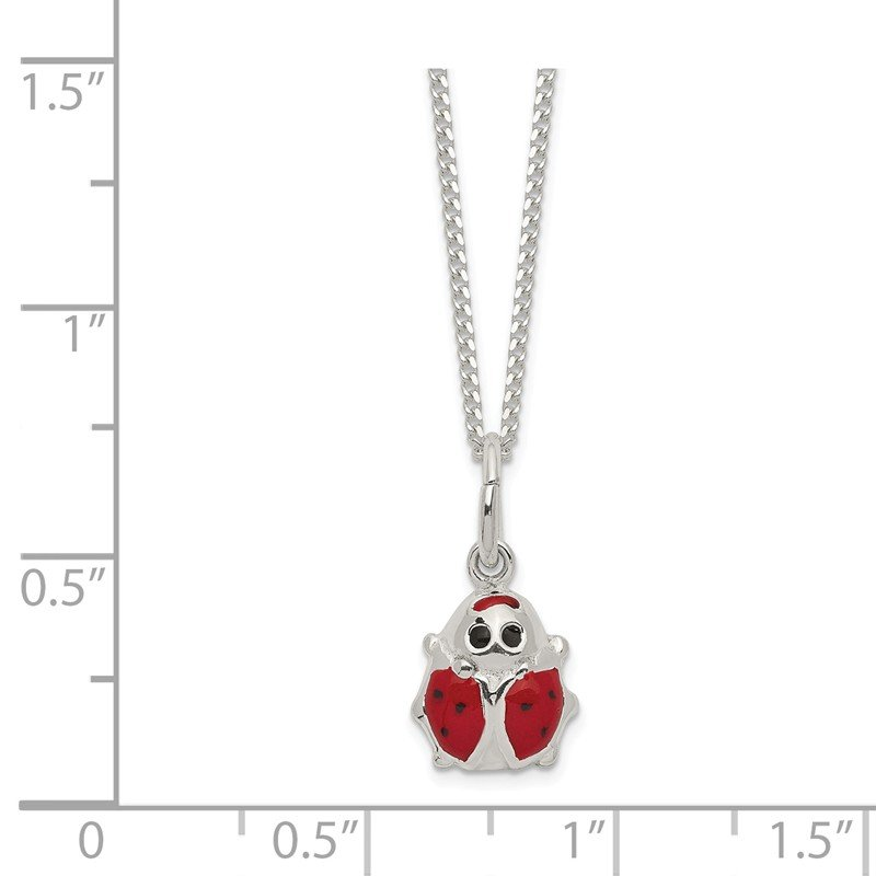 Quality Gold Sterling Silver Enameled Ladybug Necklace