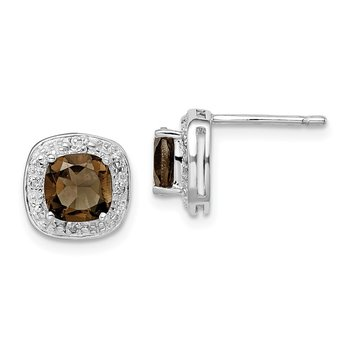 Sterling Silver Rhodium Plated Smoky Quartz Diamond Post Earrings